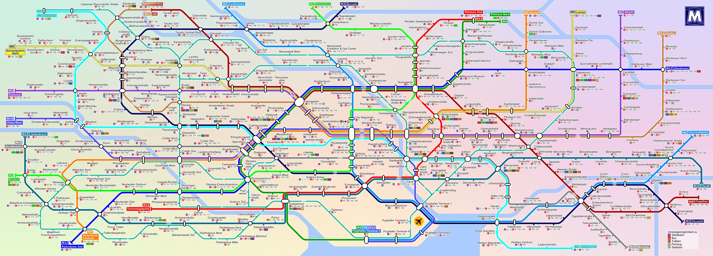 Metro network map (inside trains above the doors)