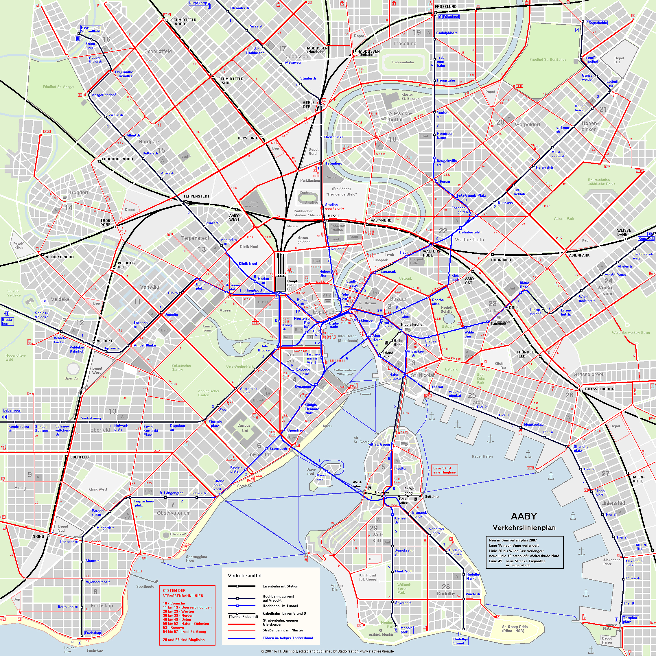 Public transit map of Aaby