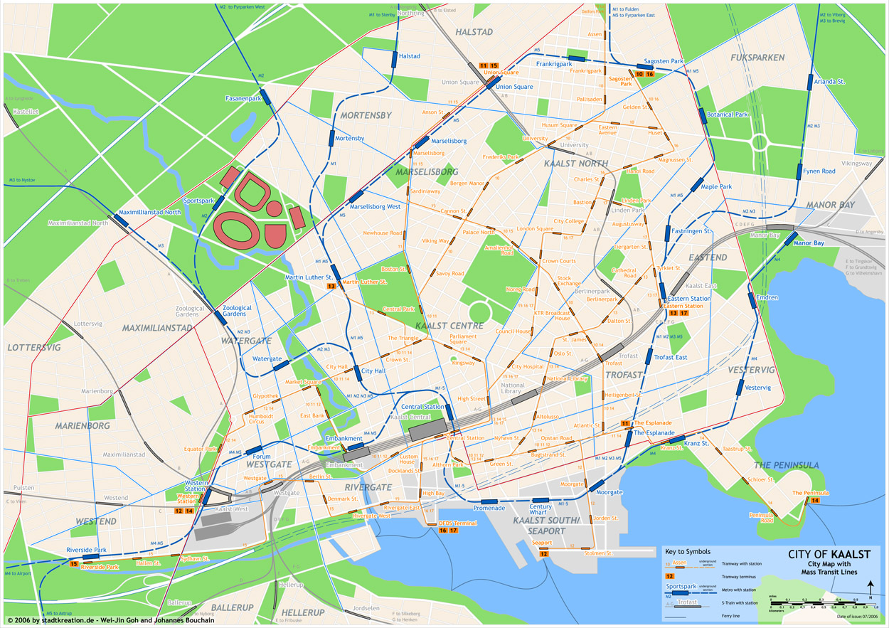 Kaalst city map with public transit lines