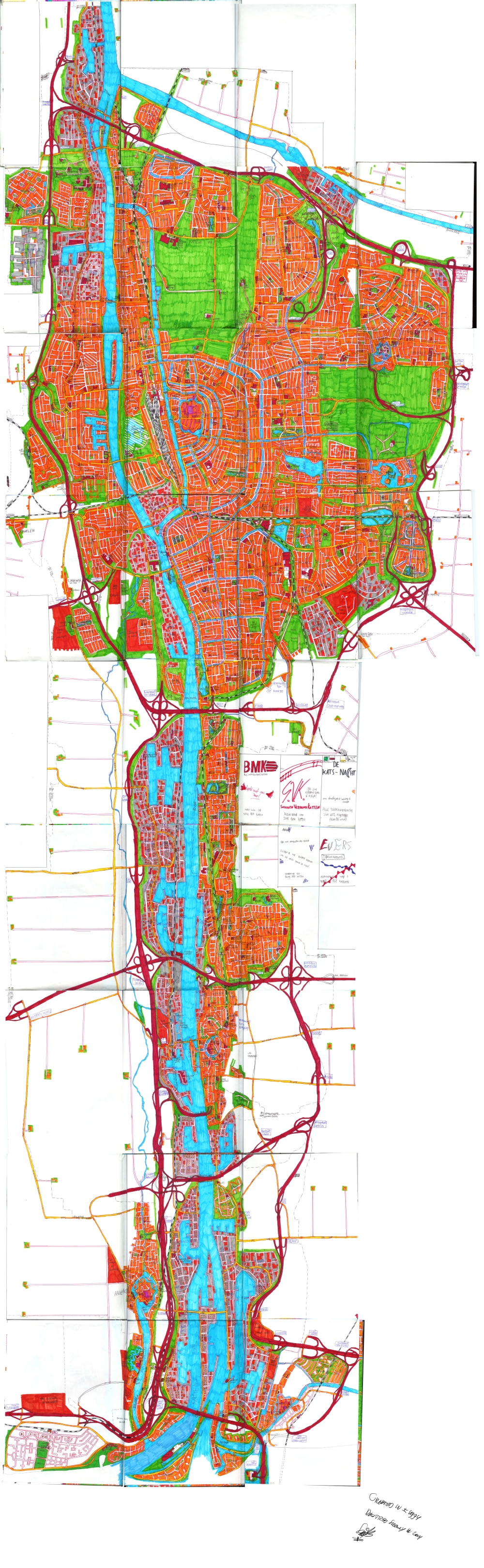 Hand-drawn city map