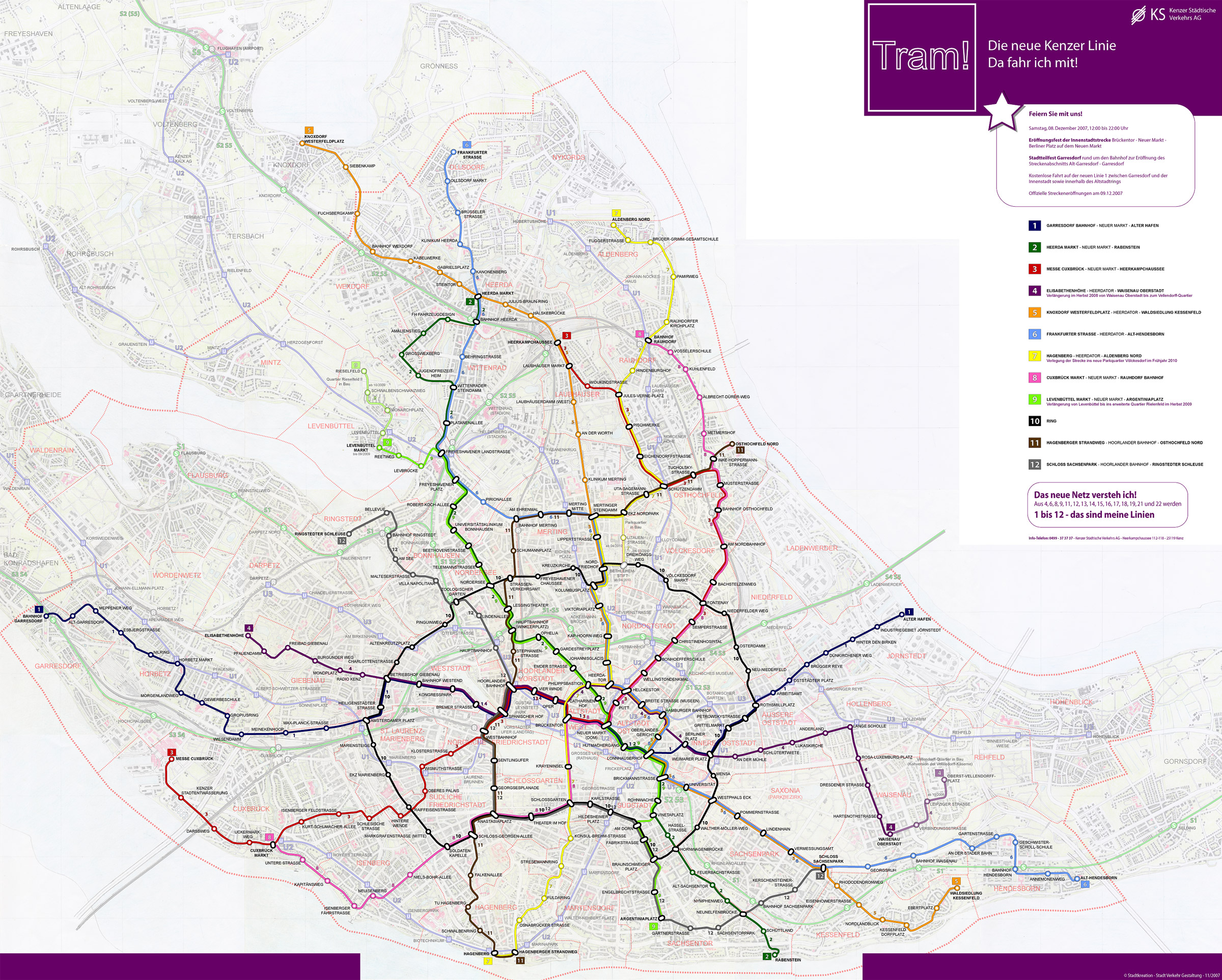 Kenz, entire city map with tramway network