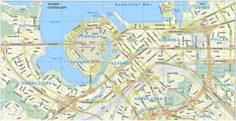 Map of downtown Yordam