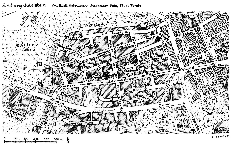 Detail: Hand-drawn map of Jübelstein (Tarott-Rohrwasser)