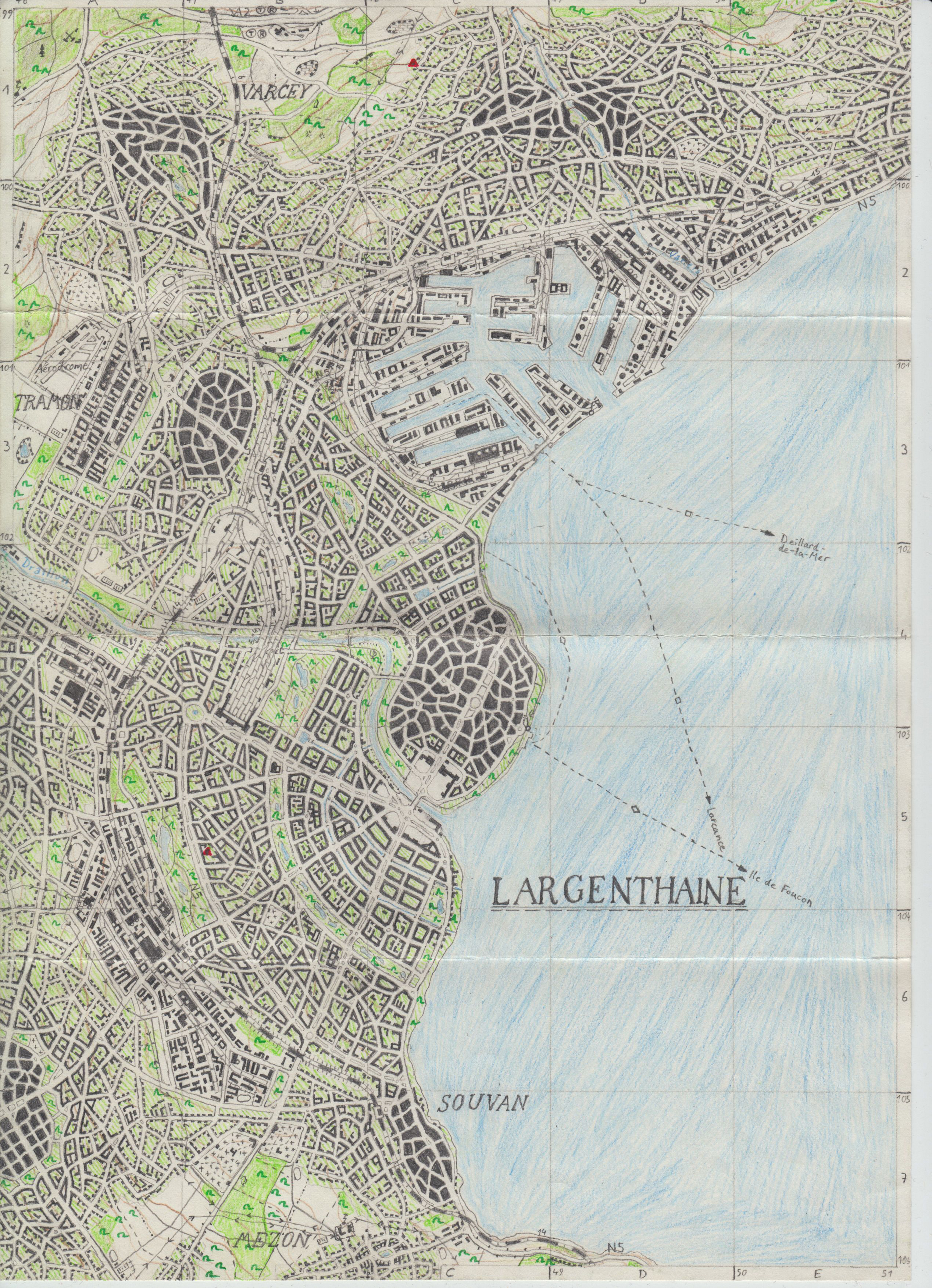 Topographical map of Largenthaine