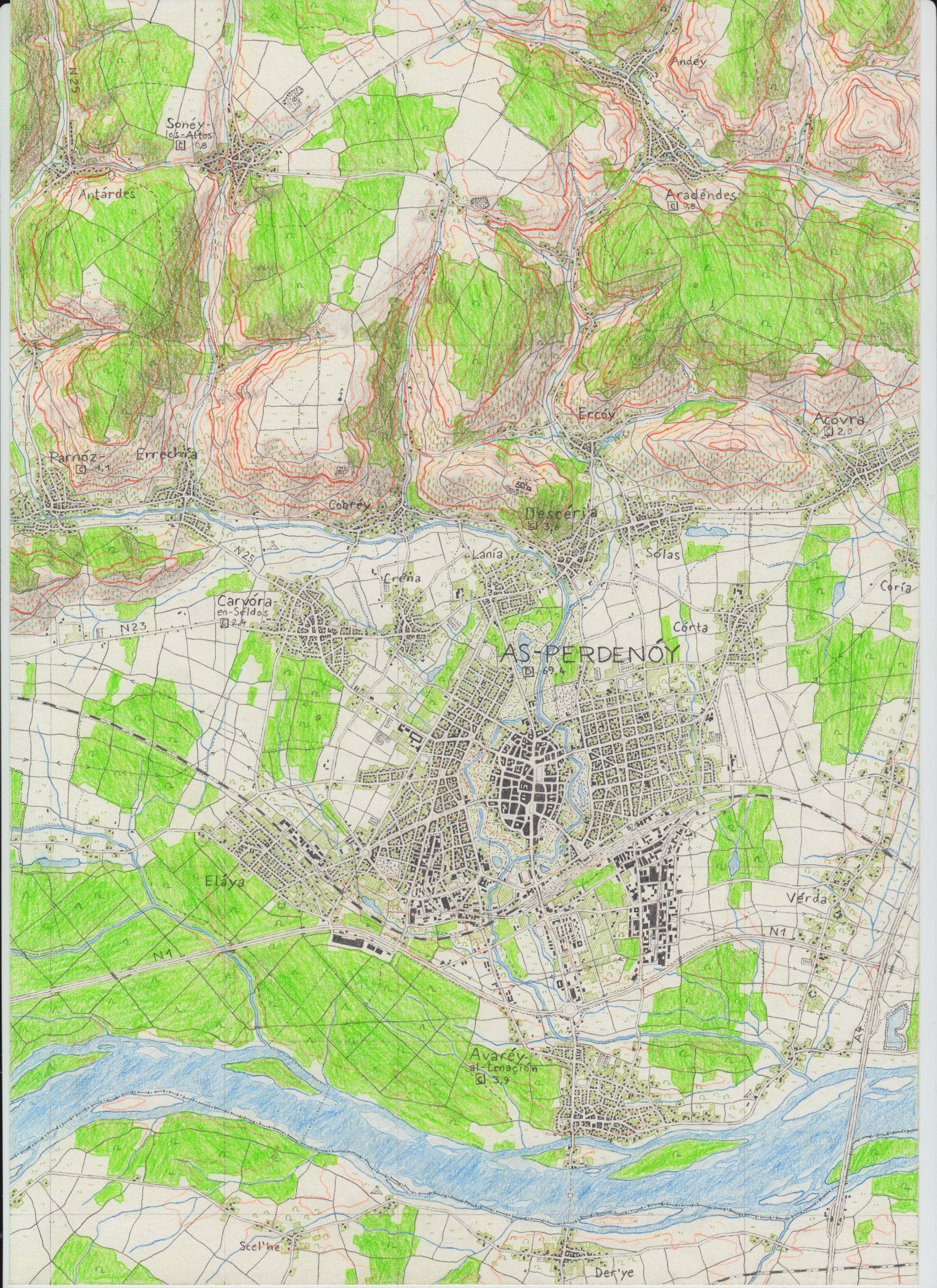 As-Perdenoy topographical map