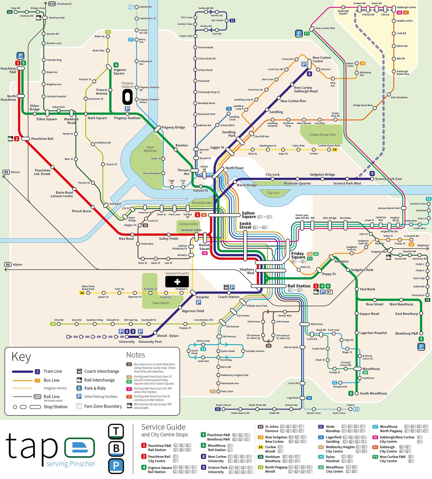 Pinscher public transport network map