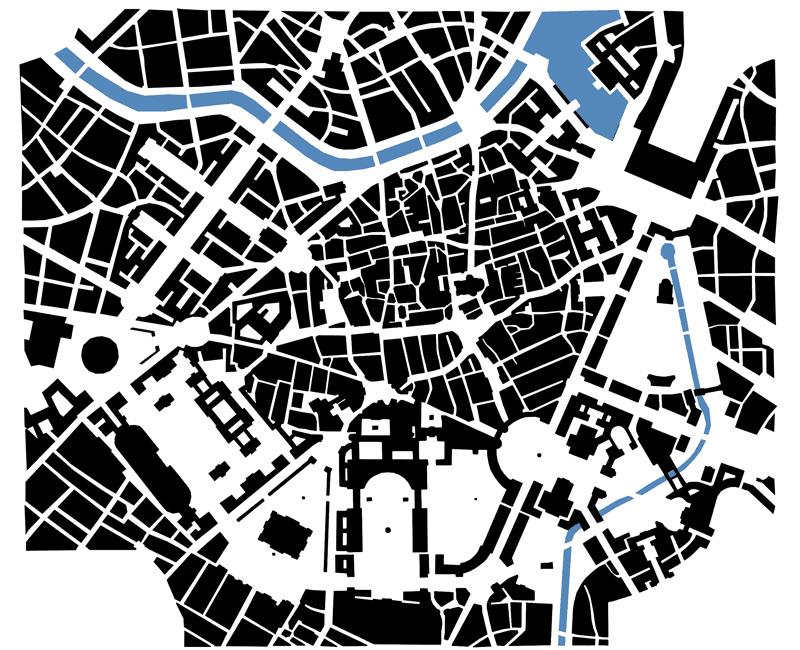 Adolf Loos: Alternativer Plan für die Wiener Ringstraße (Schwarzplan von J. Bouchain)